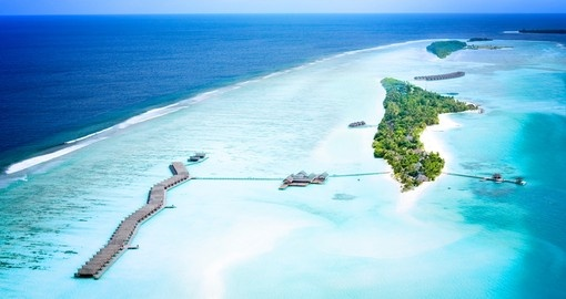 An aerial view of LUX Resort Maldives - a beautiful place to stay on your Maldives vacation.