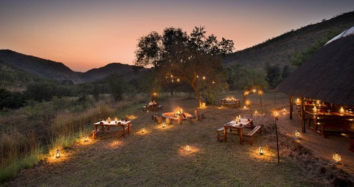 The boma is a social place where many stories of the bush are shared over a roaring fire