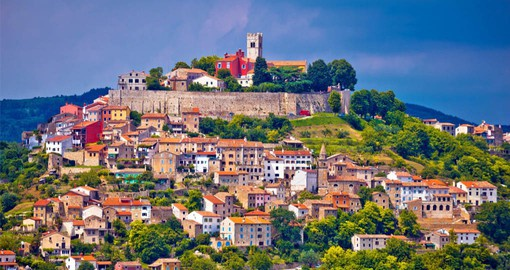 Motovun is a captivating walled town perched on a hill in the Mirna River valley