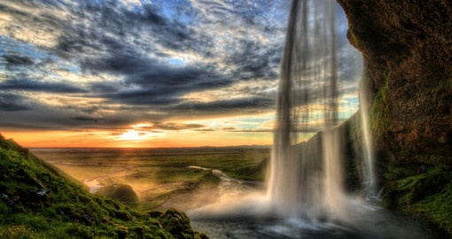 Seljalandfoss waterfall at sunset