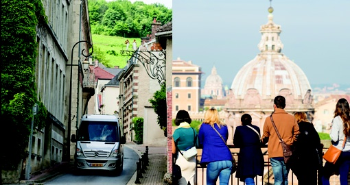Split image of a small touring vehicle and people looking at a site