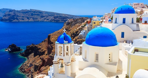 Blue Domed churches, Caldera, Oia, Santorini, Greece