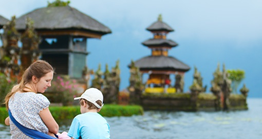 Enjoying views of beautiful Bali water temple at Bratan lake