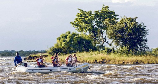 Enjoying the Upper Zambezi River on a Raft