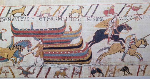Measuring 20 inches high and 230 feet in length, the Bayeux Tapestry commemorates a struggle for the throne of England