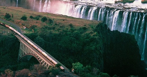Aerial view of Victoria Falls and the train