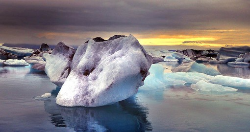 Jokulsarlon is Iceland's most famous glacier lagoon at the tongue of Europe's largest ice cap