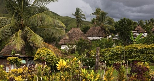 A traditional Fijian village on the main island of Viti Levu - typically the island where most people start their Fijian vacation.