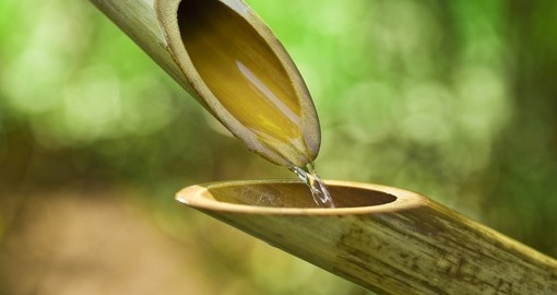 Traditional bamboo fountains can be found throughout the country.