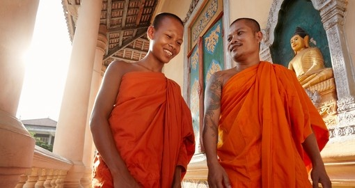 Two buddhist monks in a temple in Phnom Penh