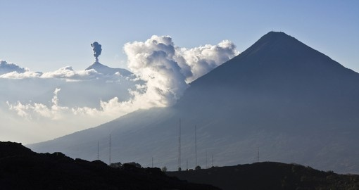 An iconic location, Volcán de Fuego, is a must during your Guatemala tour