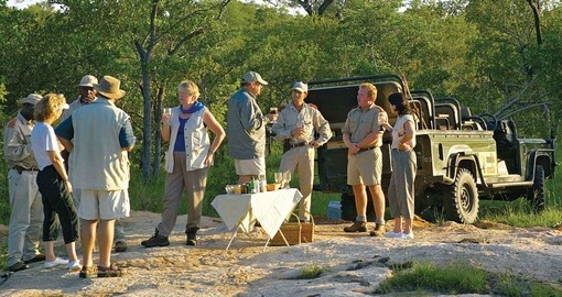 African Safari Group Enjoying Sundowners