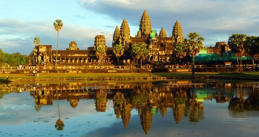 One of hundreds of surviving temples and structures, the massive Angkor Wat is the most famed in all of Cambodia