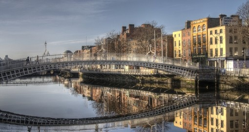 Hapenny Bridge view from the south side of the river, Dublin
