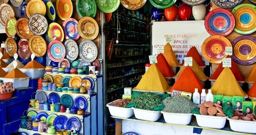 Explore traditional market and get some Spices and Ceramics during your next Morocco tours.