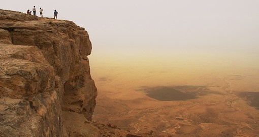 Cliff over the Ramon Crater in Negev Desert in Israel