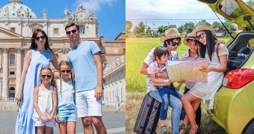 split image of families posing and looking at a map