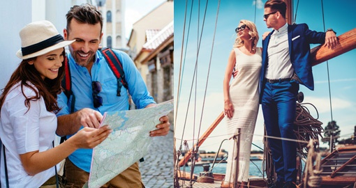 Split image of couple looking at map and modelling fashionable clothes