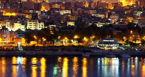 Enjoy Aswan at night, it is amazing view and unforgettable experience on your next Egypt tours.