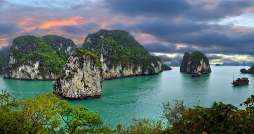 Near the Chinese border, Ha Long Bay is dotted with 1600 limestone islands