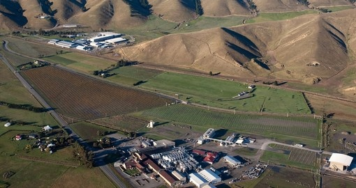 Aerial view of a winery and grapevines near blenheim