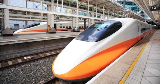 Travel across Taiwan on the high speed bullet train during your Trips to Taiwan.