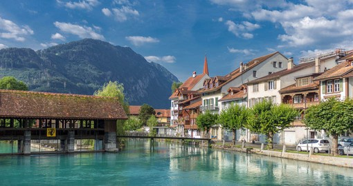 Interlaken in the Bernese Oberland sits between Lake Thun and Lake Brienz