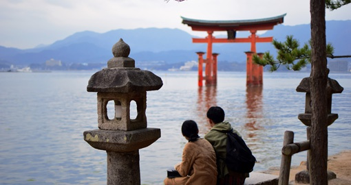Itsukushima Shrine is a giant torii gate near Hiroshima