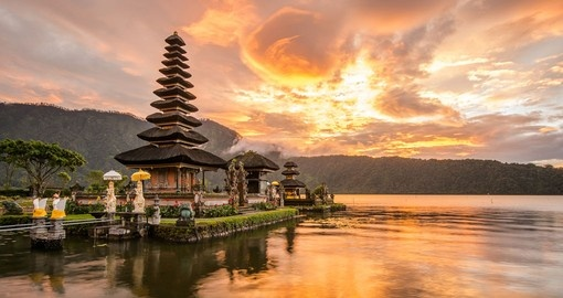 Pura Ulun Danu Bratan hindu temple on Bratan Lake is a popular Bali vacation inclusion