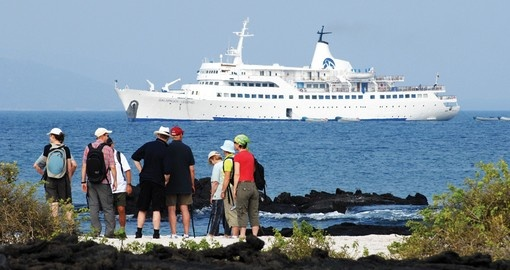 Your cruise vessel at anchor off the Galapagos Islands