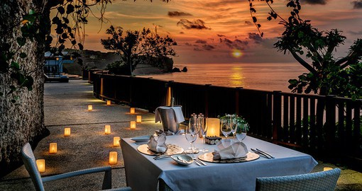 Romantic dinner and sunset in Bali