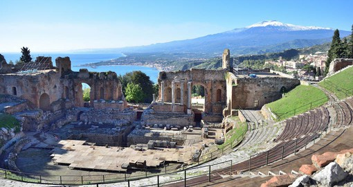 The Greek theatre of Taormina was transformed during the Roman times for games and gladiatorial battles