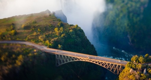 The bridge at Victoria Falls is always a popular photo spot while on your Zambia safari.