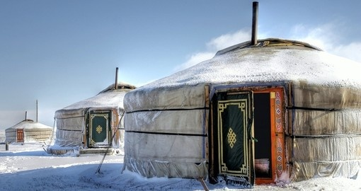 Yurt's - Portable bent wood-framed dwellings are a popular photo opportunity while on your Mongolia vacation.