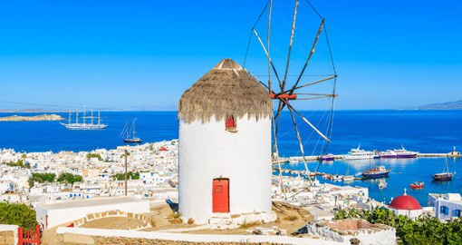 Experience the port side town of Mykonos and enjoy wonderful architecture and local cuisine on your Trips to Greece
