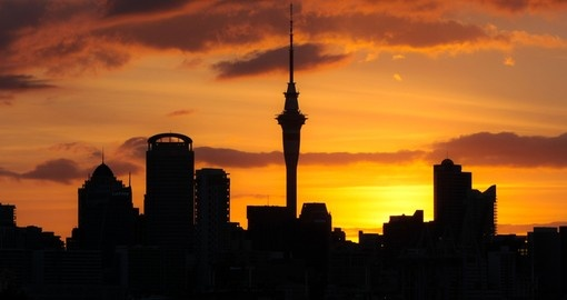 Silhouette of Auckland City at sunset