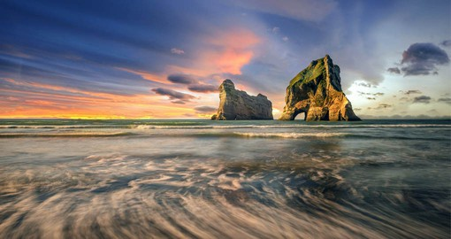 The stunning rock formations at Wharariki Beach, the northern most point of the South Island