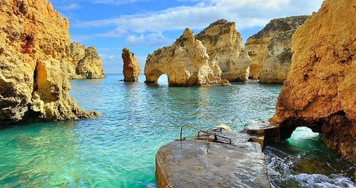 Clear blue waters in the Algarve