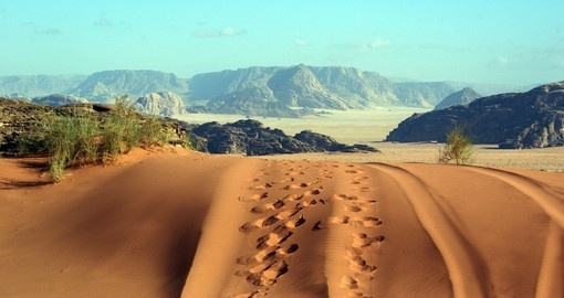 Tracks and footprints in Wadi Rum desert
