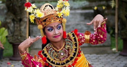 A Balinese girl performs a welcome dance
