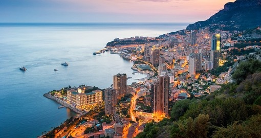 Evening view of Monte Carlo - the starting point of your Monaco vacation.
