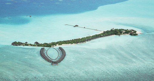 An aerial view of the Taj Exotica resort - one of your accommodation choices for your Maldives vacation.