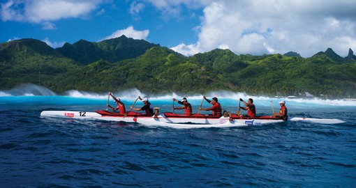 An outrigger is local transportation for some Cook Islanders